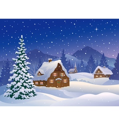 Christmas village at mountains vector image vector image