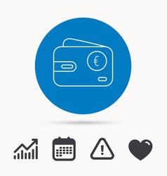 euro wallet icon eur cash money bag sign vector image