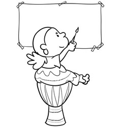 girl painting on drum vector image vector image