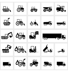 icon set cars and tractors vector image vector image
