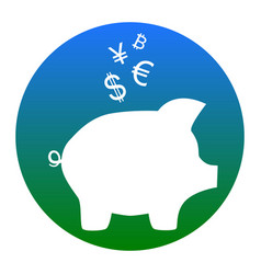 piggy bank sign with the currencies white vector image vector image