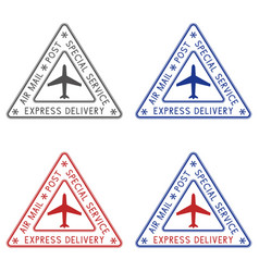 post stamps express delivery colored triangle vector image