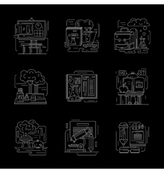 Set of detailed chemistry white line icons vector image vector image