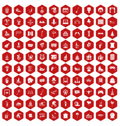 100 amusement icons hexagon red vector image