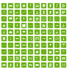 100 architecture icons set grunge green vector