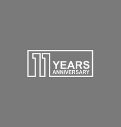 11 years anniversary logotype with white color vector