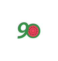 90 year anniversary fruit number template design vector
