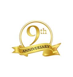 9th anniversary celebration logo vector image