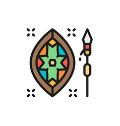 african spear and shield flat color line vector image