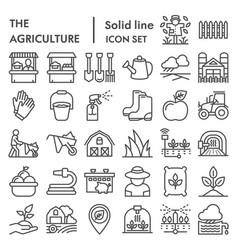 agriculture line icon set farming symbols vector image