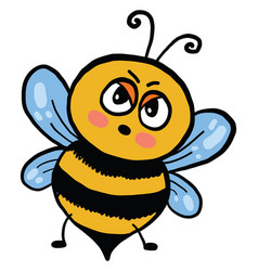 Angry bee on white background vector