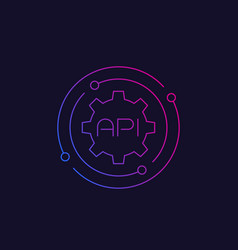 api software integration line icon vector image