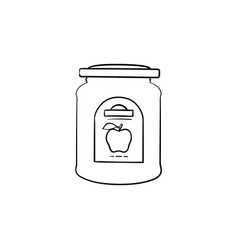 apple jam in a glass jar hand drawn sketch icon vector image