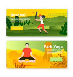 banners - cricket player girl and yoga man vector image