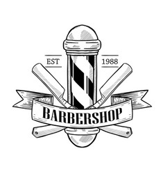 barbershop logo with dangerous razor vector image