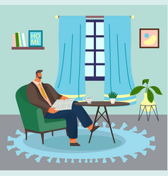 Bearded man sitting on armchair at home reading vector