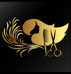 Beauty salon of golden color vector