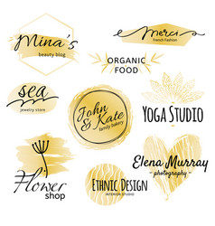Black and golden logo collection identity vector