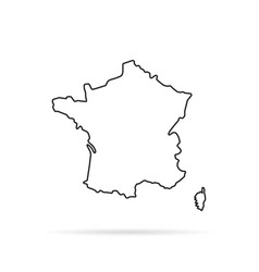 Black outline hand drawn map of france vector