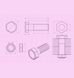 Bolt technical drawing on pink draft paper vector