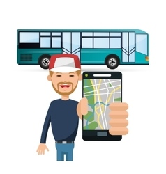 Bus vehicle and transportation design vector