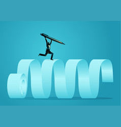 Businessman running on paper scroll holding vector