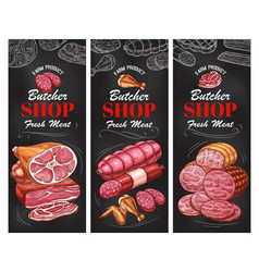 butcher shop meat product and sausage banner vector image