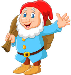 cartoon happy dwarf carrying sack vector image