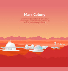 cartoon mars colonization card poster and text vector image
