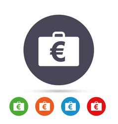 case with euro eur sign briefcase button vector image