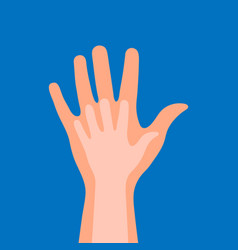 childs hand in adults hand on a blue background vector image