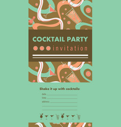 Cocktail party vertical invitation card template vector