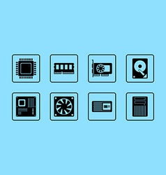 Computer Hardware Web Icon Set vector image