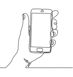 Continuous line drawing of hand holding smartphone vector