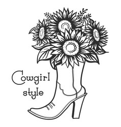 Cowgirl boot with floral bouquette and text vector