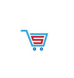 Creative cart label logo vector