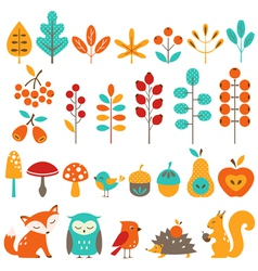 Cute autumn design elements vector