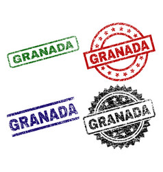 Damaged textured granada stamp seals vector