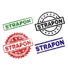 Damaged textured strapon seal stamps vector