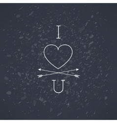 dark i love you hipster grunge background vector image
