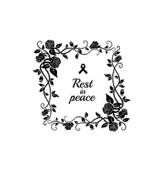 Deceased memory inscription rip and floral frame vector