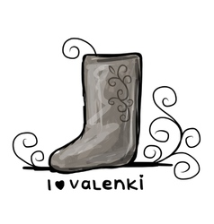 Felt boots sketch for your design vector image