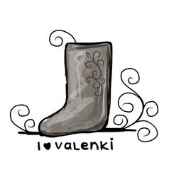 Felt boots sketch for your design vector image