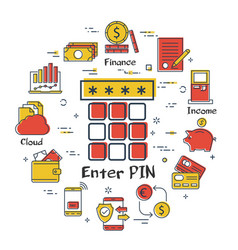finance and banking linear concept- enter pin code vector image