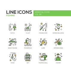 Fishing - line design icons set vector image
