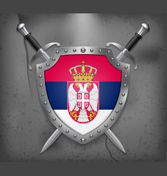 Flag of serbia the shield with national flag two vector