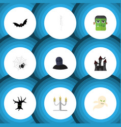 flat icon celebrate set of monster spinner vector image