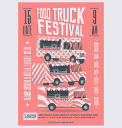 food truck festival poster flyer template vector image