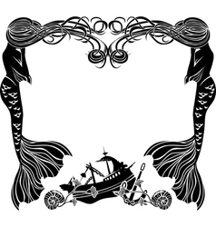 Frame mermaids weep shipwreck stencil for sticker vector image