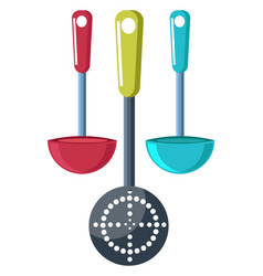 Fry pans and cutter color vector